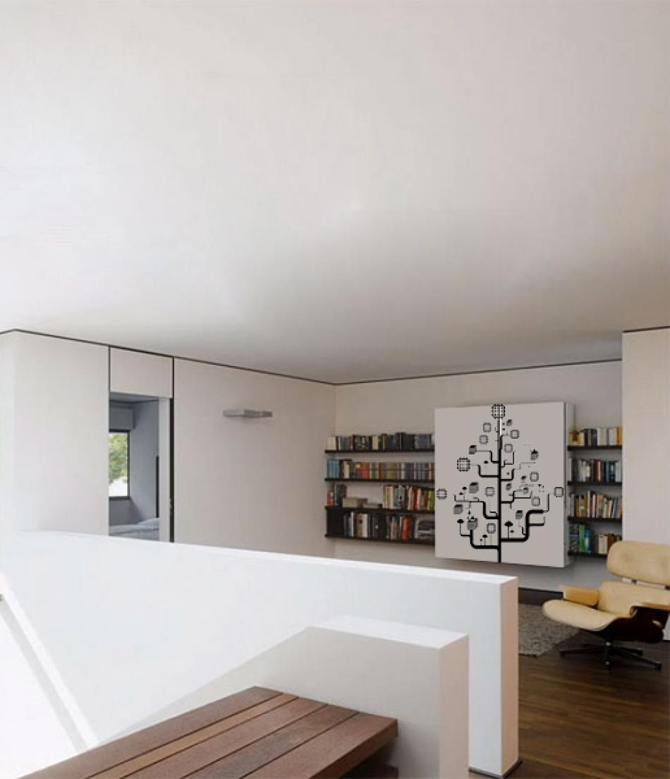 三居室现代风格_手绘墙画