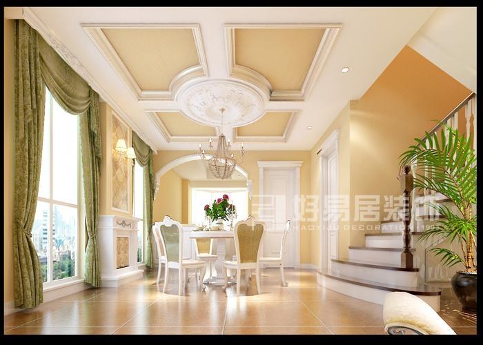 设计理念:让空间自然地对话,是这个设计的主题。走入空间休闲的玄关,以白色拱形门扇对称性的展现文化石端景的优雅,提点出大户人家的气势。白色造型鞋柜衔接玄关和客厅,拱形门廊过渡,线条装饰的白色罗马柱体,净白中刻画出古典自在。电视背景墙两侧透过木作造型与艺术墙纸交织,让两侧的柱体更显生机。沙发背景墙造型与电视墙更是相互呼应。客厅的另一侧是餐厅与敞开式的厨房,同样的干净基底表现。拱形的门廊,精致的欧式柱头为厨房拉开了序幕。餐厅天花上调整出以灯盘为中心的四宫格,消弭了大梁直接横越的压迫。整个墙面与地面的色调都是欧式