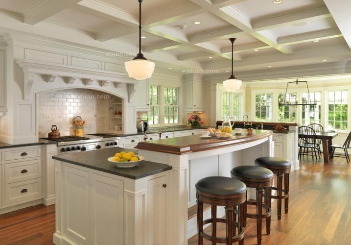 一居室现代风格_开放式明亮厨房设计图片