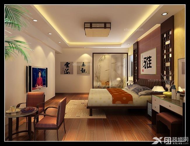 三居室中式风格_保集半岛中式装修效果图-x团装修网