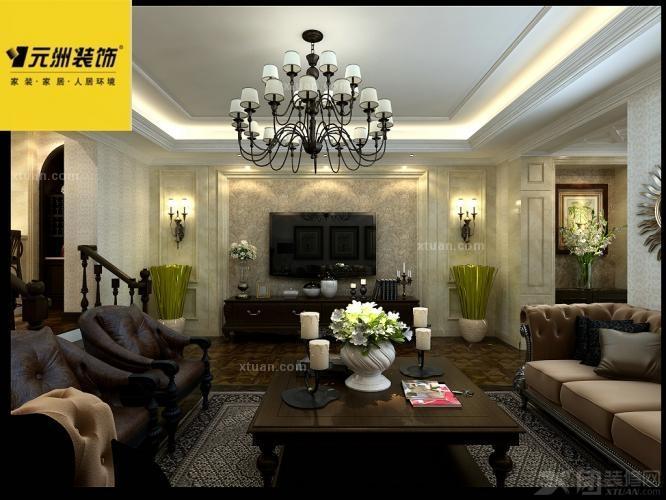 电视背景墙采用石材饰面,整体贴近自然,深色地板与欧式家具在色彩上相