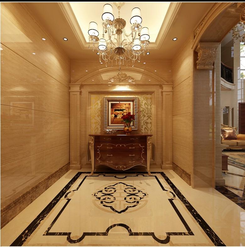 水晶吊灯,艺术砂岩以及华丽流畅的旋转楼梯,成了充满欧式风格的大厅图片