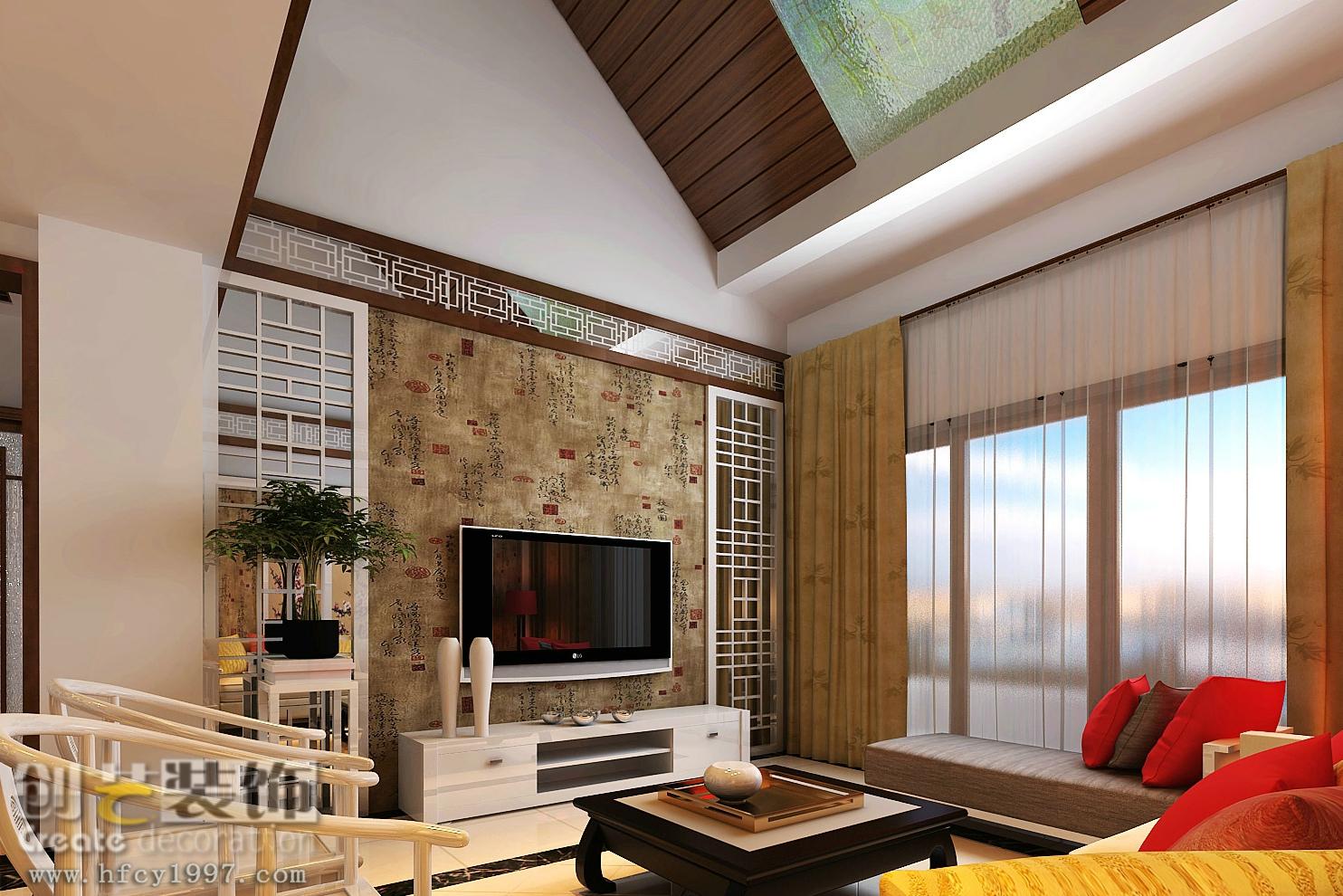 复式楼中式风格_经开区锦秀年华130平米现代中式风格复式12万元图片