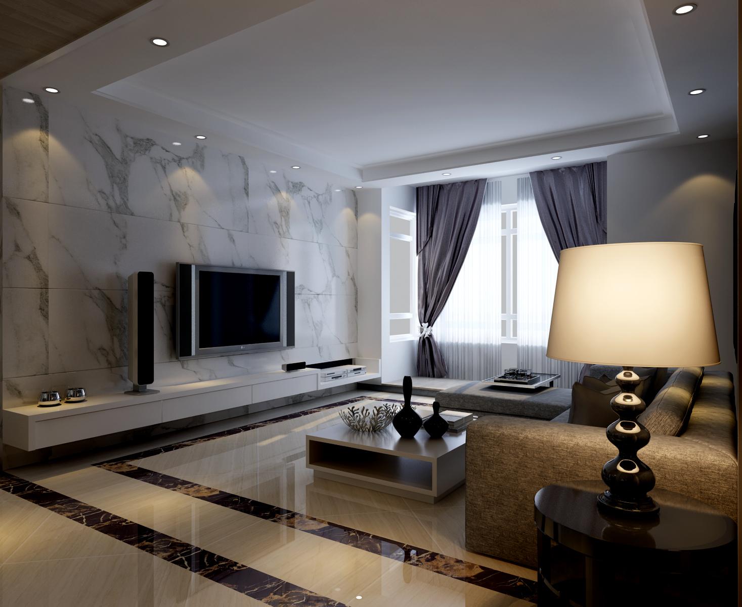 中海环宇天悦 95平两居室现代简约风格设计装修效果图 简欧风格两居室图片