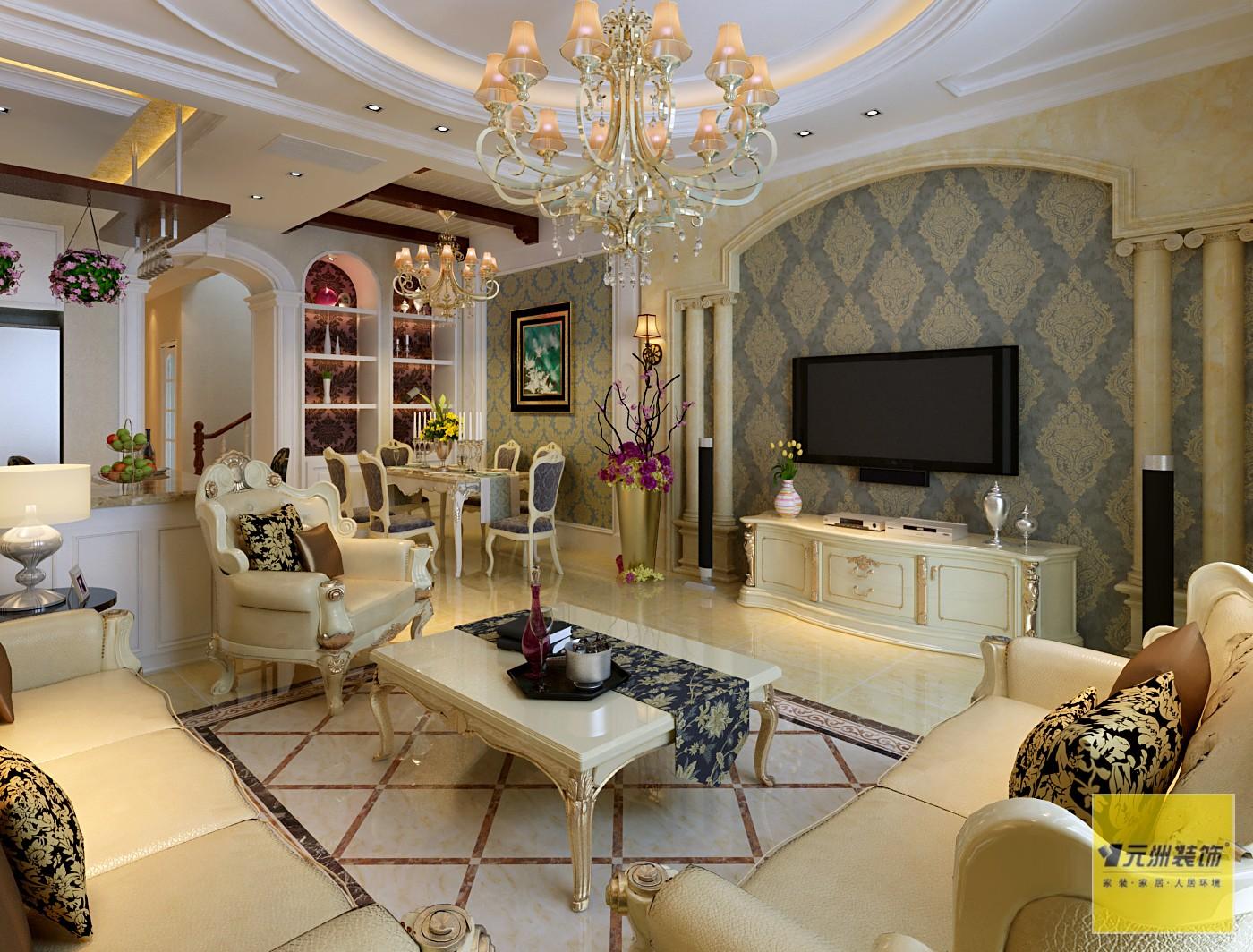 别墅美式风格_北京天鹅湖288平米联排别墅装修效果图图片