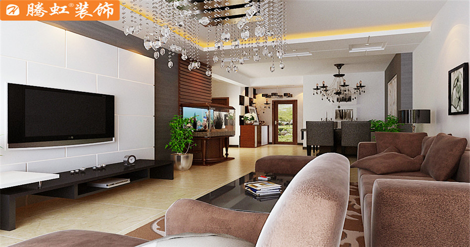 生态木的鱼缸背景和客厅的影视墙作了很好的分割,使整体的客厅影视墙