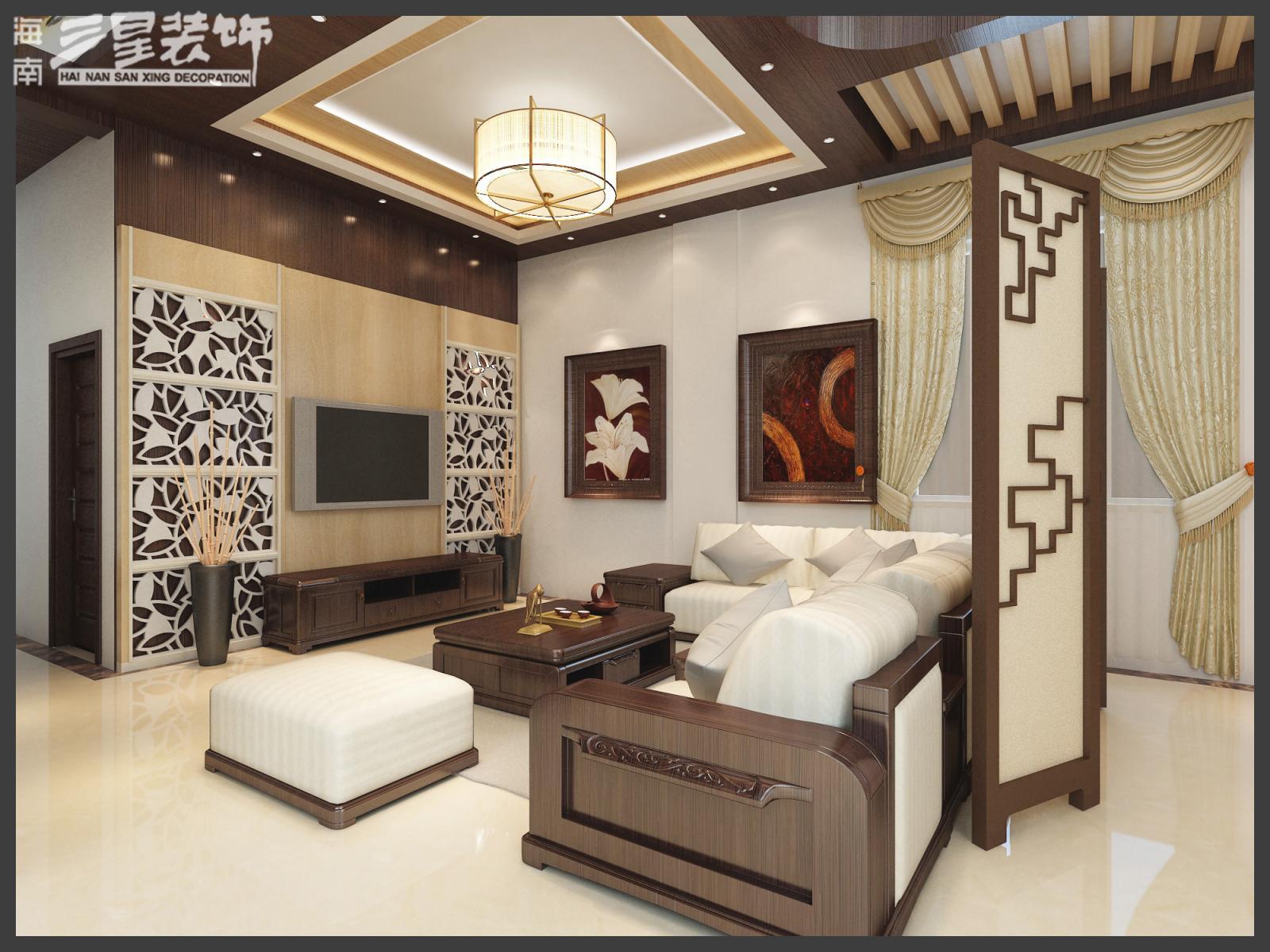 别墅中式风格_临春河自建1号别墅现代风格装修效果图-x团装修网;