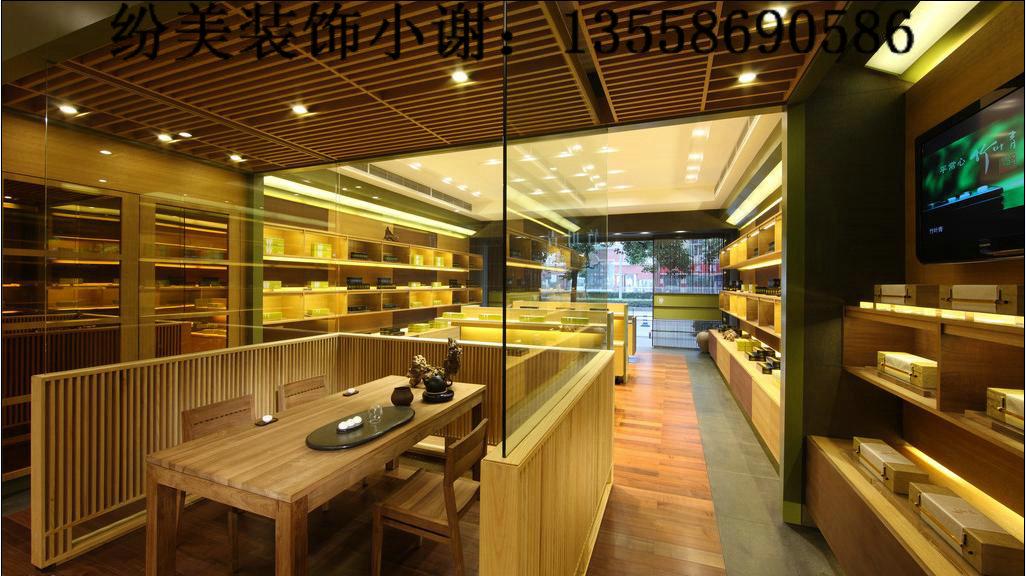 纷美装饰小谢商务qq: 2582180322 茶叶店装修的几个要素 1,货架柜台图片