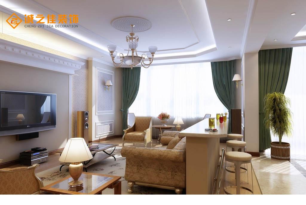 宏信国际花园128平欧式风格三居室装修效果图 汉口城市广场三居室简约