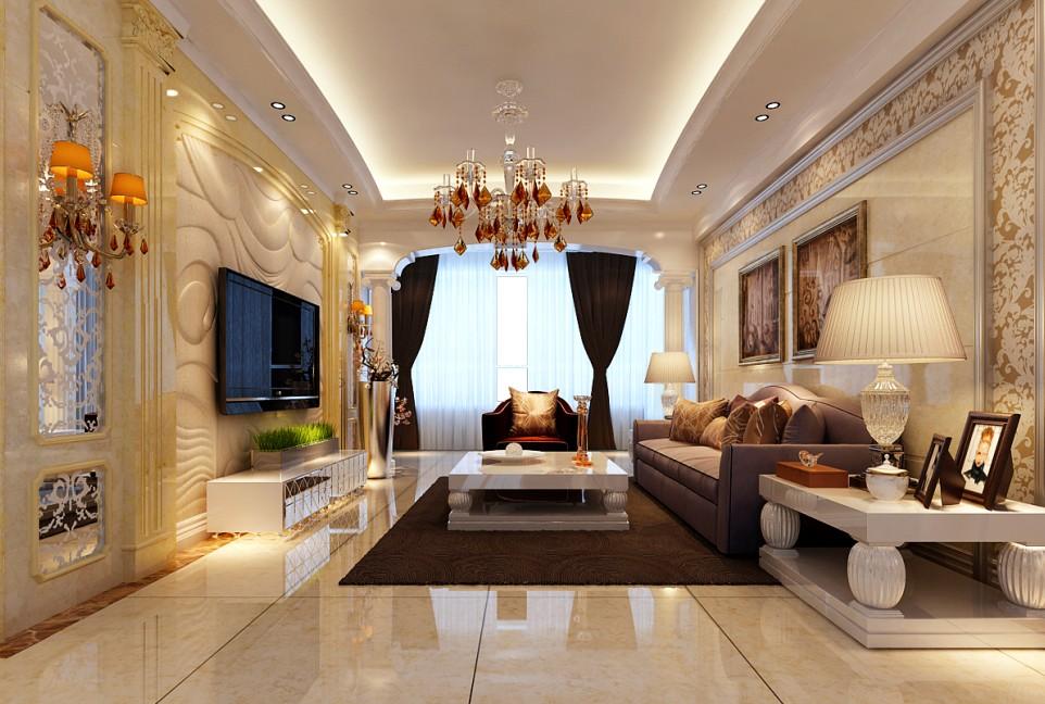 四居室欧式风格客厅_海滨一号8#装修效果图-x团装修网