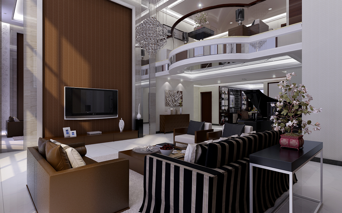 温馨复式楼装修效果图 盘龙居复式楼180平米现代欧式装修效果图 湘银图片