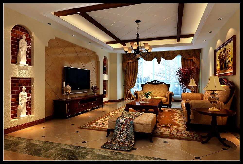 美式的木梁,深色的文化石背景墙,厚重,大气的实木家具结合到一起,造就