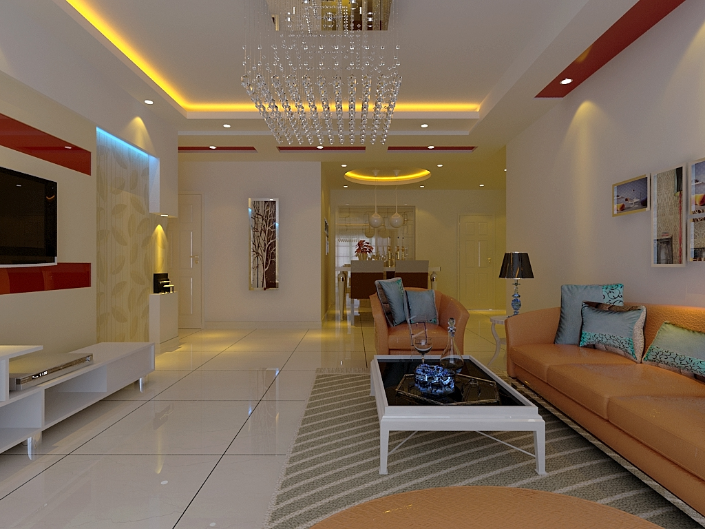 银基王朝三居室新中式装修效果图  户型:三居室 风格:简约风格 装修图片