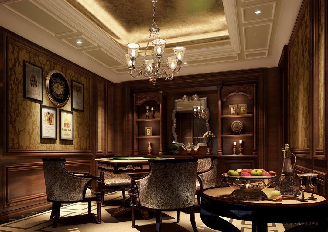 别墅古典风格_地下室棋牌室装修效果图-x团装修网图片
