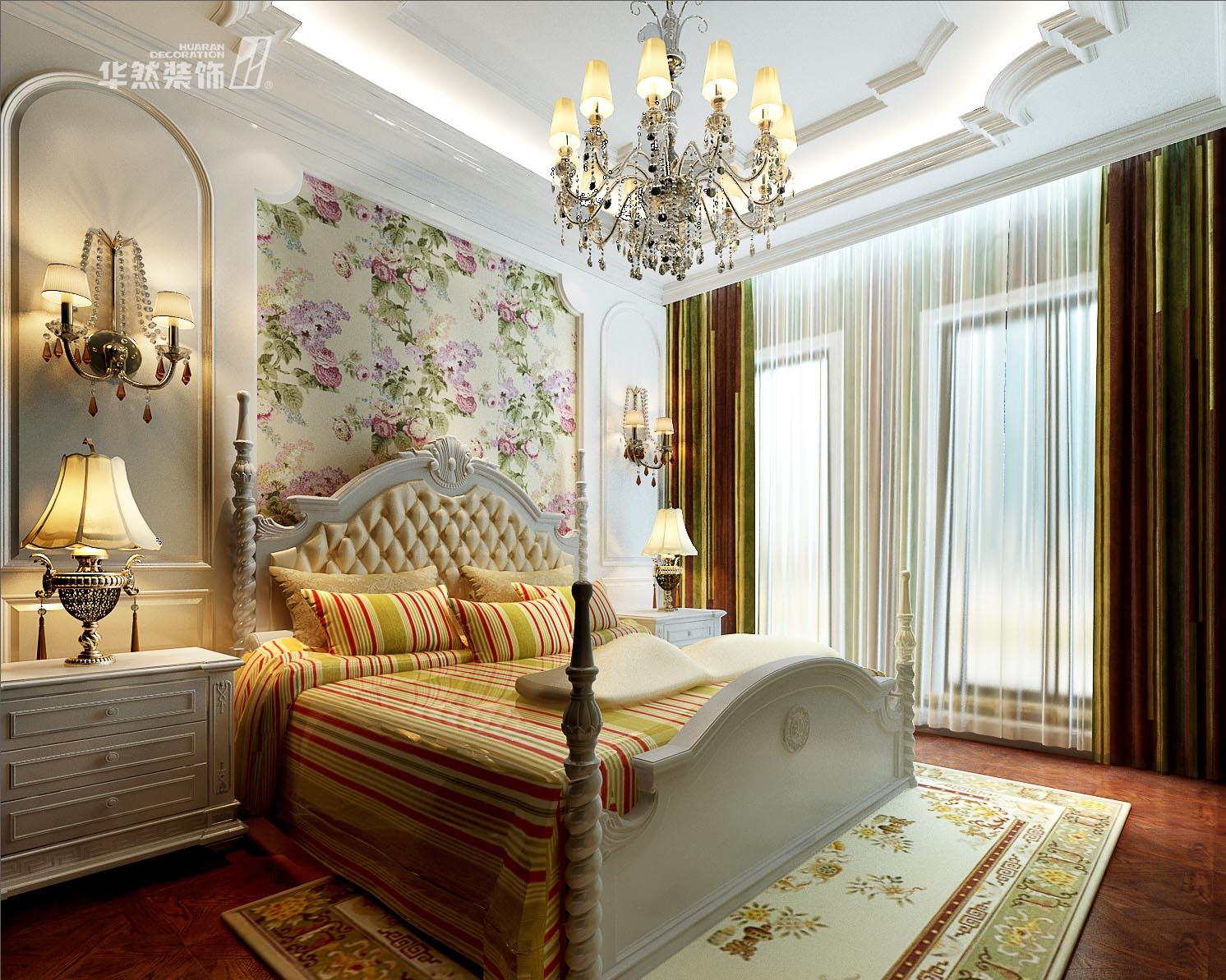别墅欧式风格_玫瑰园别墅卧室装修效果图-x团装修网
