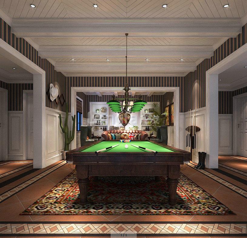 别墅美式风格_地下室设计装修效果图-x团装修网图片