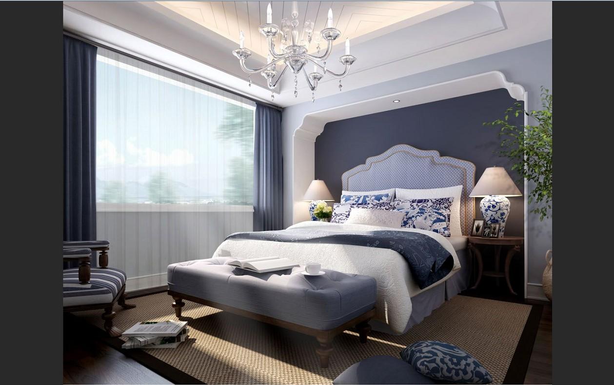 别墅地中海风格_卧室设计装修效果图-x团装修网图片