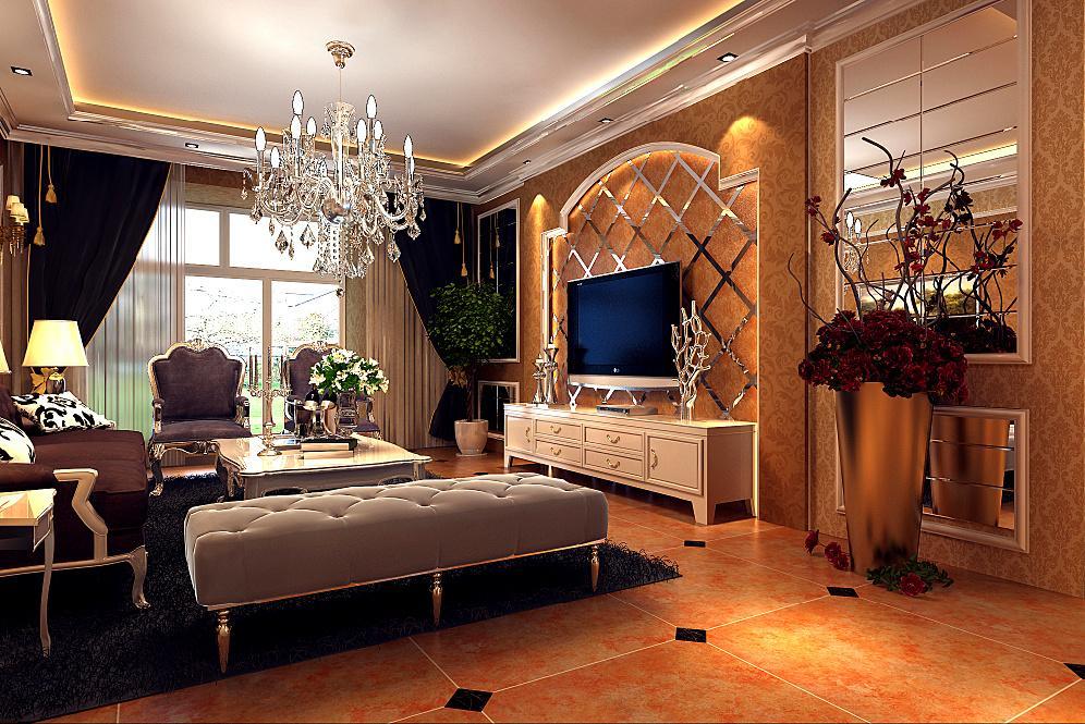 在装饰语言方面,如墙面的雕花,欧式家具的线条质感.