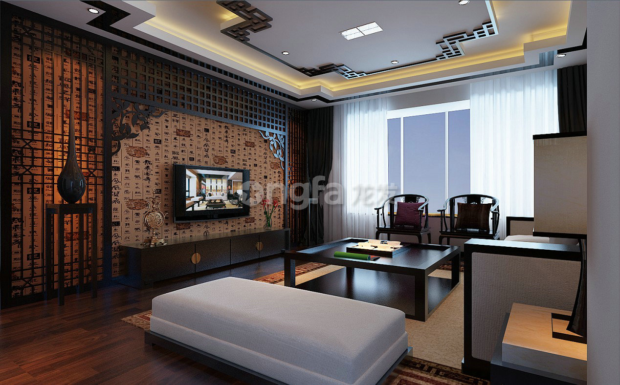 三居室中式风格客厅电视背景墙_客厅设计图片
