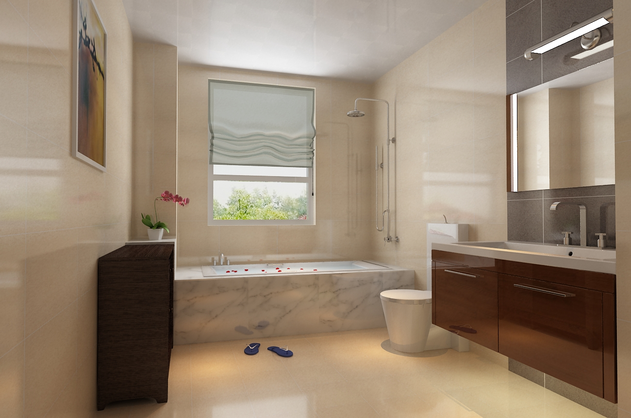 田园浴室柜装修效果图 橡木柜浴室柜装修效果图 实木浴室柜装修效果图
