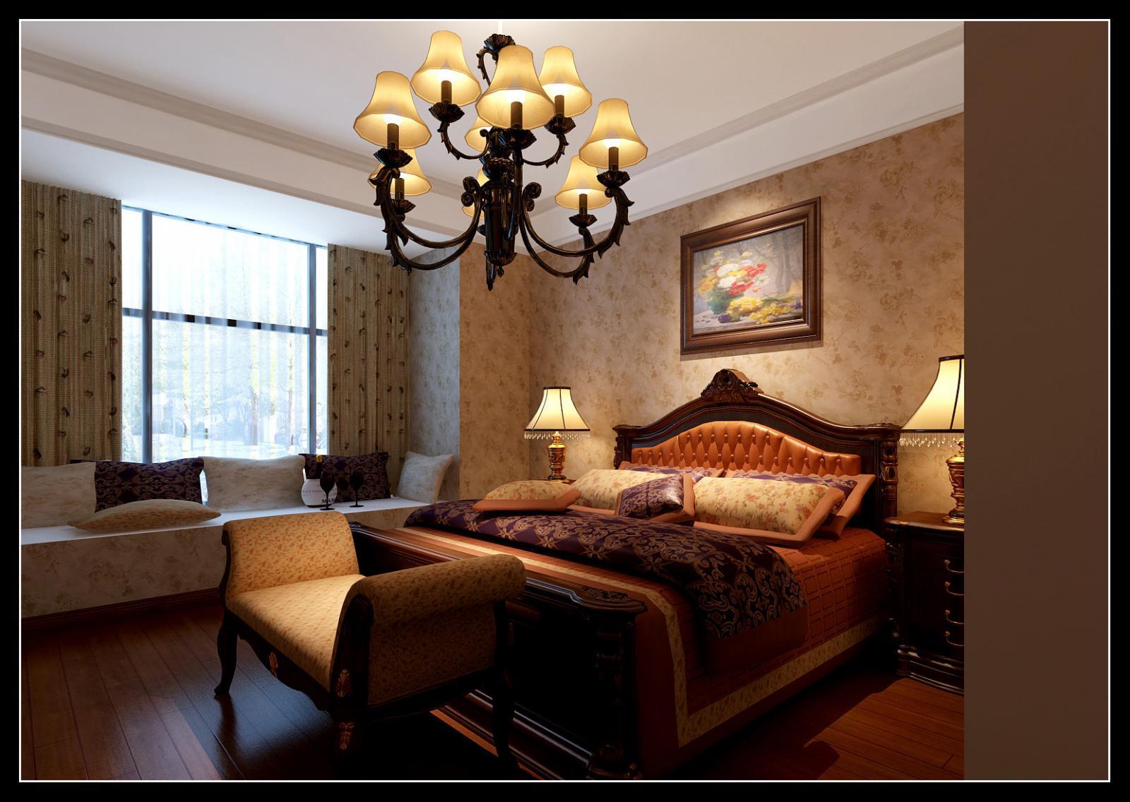 三居室美式风格主卧室_恒大绿洲-卧室装修效果图-x团图片