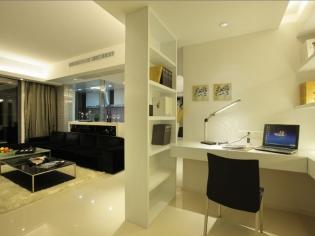 小户型空间合理利用,客厅里隔出来的书房