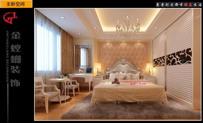 实木床装修效果图  设计理念: 户型:四居室 房间:卧室 风格:简欧风格