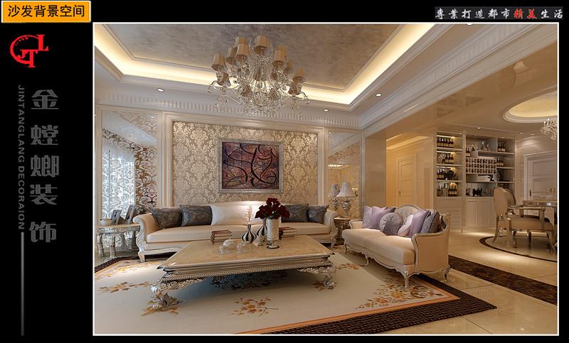 复式楼简欧风格客厅沙发背景墙_翰林春天14#01图片