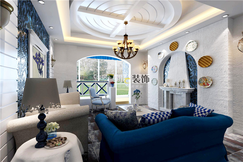 三室两厅地中海风格客厅圆形吊顶_地矿新庄