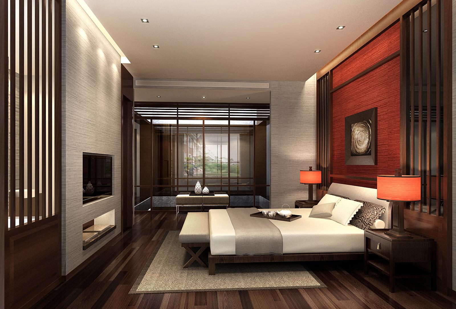泽瀚峰景-53平小户型现代美式卧室装修效果图 中式卧室装修效果图