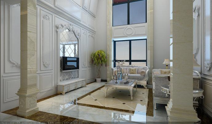 墙面的造型和精致的地砖把客厅映衬的富丽堂皇图片