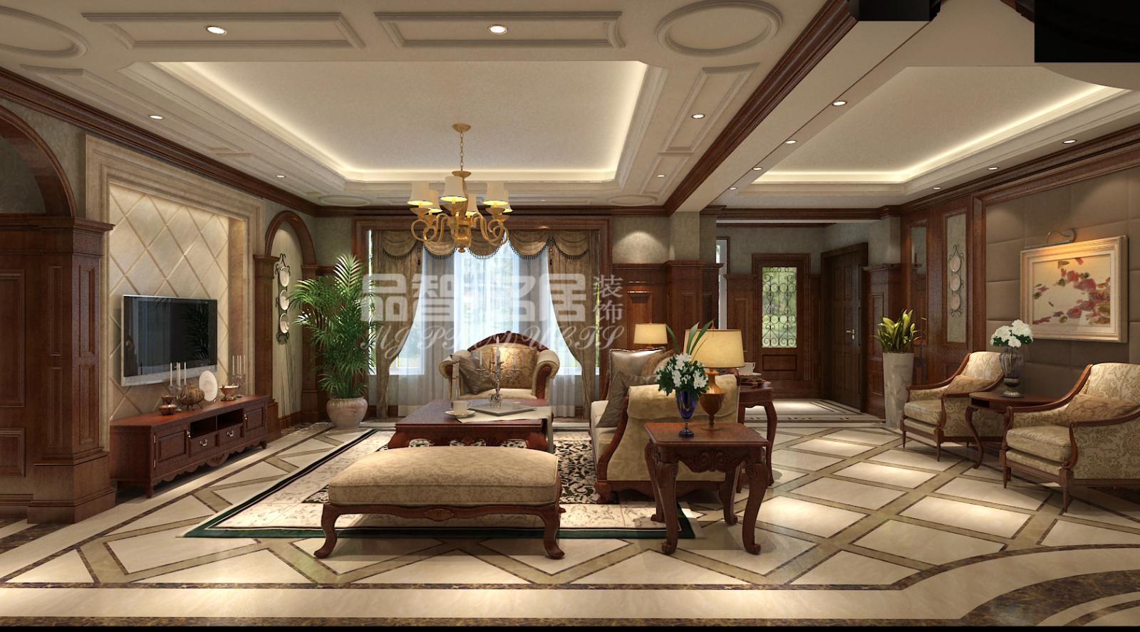 三居室美式风格_圣地雅歌花园洋房装修效果图-x团装修图片