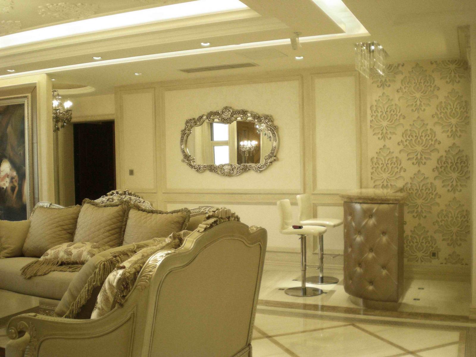 大户型欧式风格客厅沙发背景墙_大连明珠住宅-家装设计作品-王跃飞图片