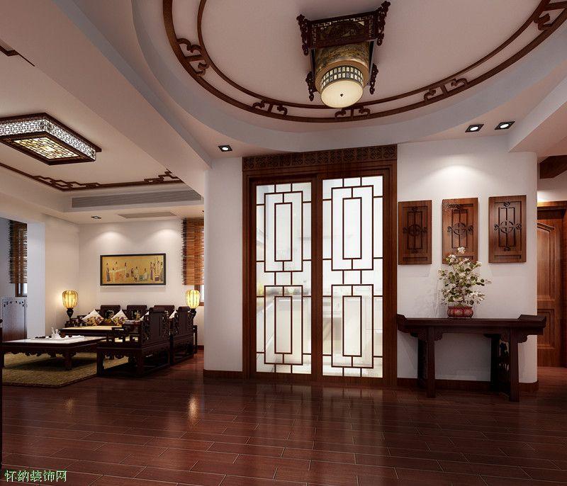 走廊雕花背景墙装修效果图