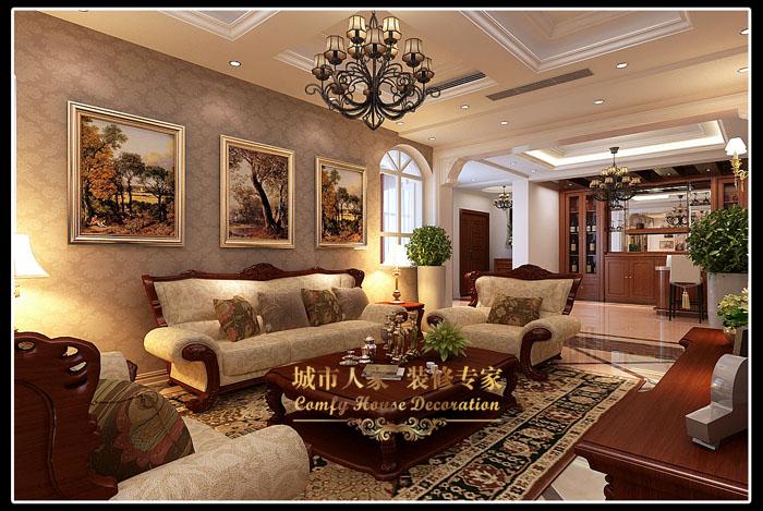 别墅美式风格客厅_胶南别墅装修效果图-x团装修网图片