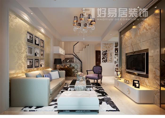复式楼混搭风格客厅电视背景墙_泉水湾三期装修效果图