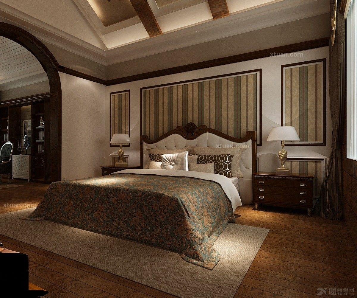 主卧室图装修效果图  户型:独栋别墅 房间:主卧室 风格:美式风格 装修图片