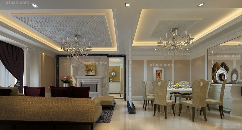 三室两厅简欧风格客厅_悠客优悠样板间装修效果图-x团