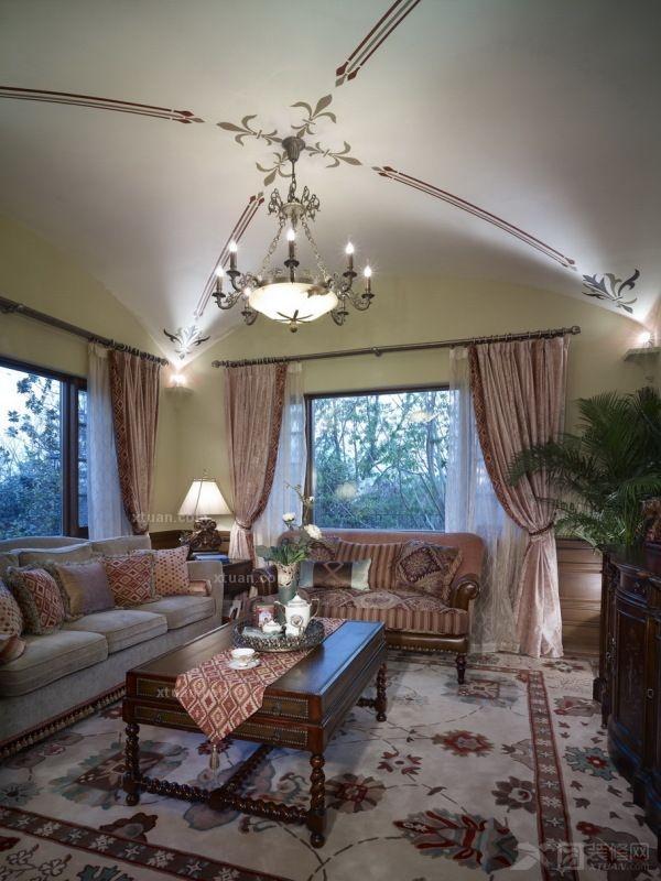 别墅美式风格客厅_杭州郡原列岛别墅样板间设计方案