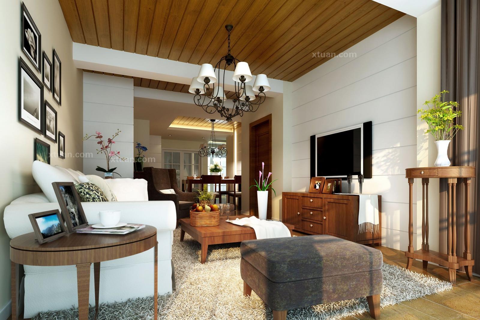三居室美式风格客厅_东湖花园二期28幢装修效果图-x团图片