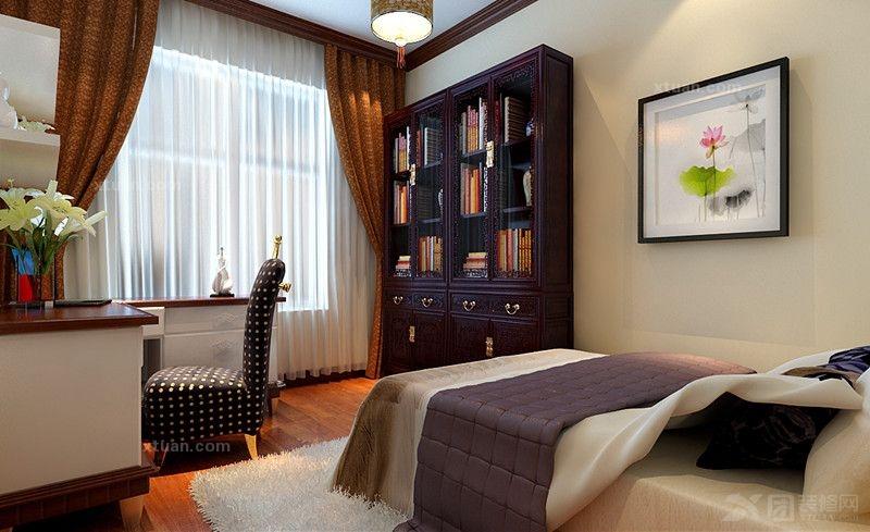 户型:两居室 房间:书房 风格:中式风格 装修类型:家装 装修方式:半包图片