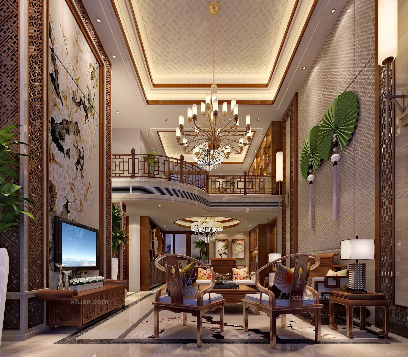 盘龙居复式楼180平米现代欧式装修效果图