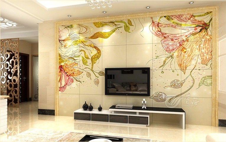 艺术瓷砖现代客厅 花舞