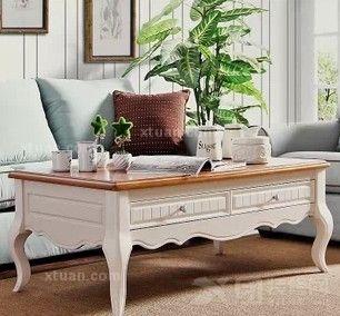 艾米尼奥家具 地中海客厅白色茶几 原木桌面美式简约茶几