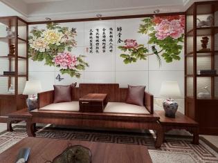 客厅装修-电视背景墙-优嗬艺术背景墙-锦堂春