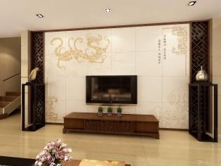 客厅装修-电视背景墙-优嗬艺术瓷砖背景墙-金龙绛气