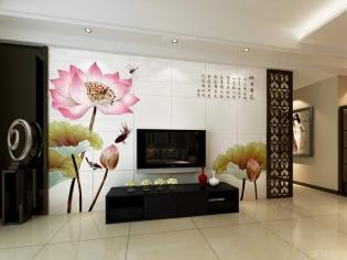 客厅装修-电视背景墙-优嗬艺术瓷砖背景墙-映日荷花