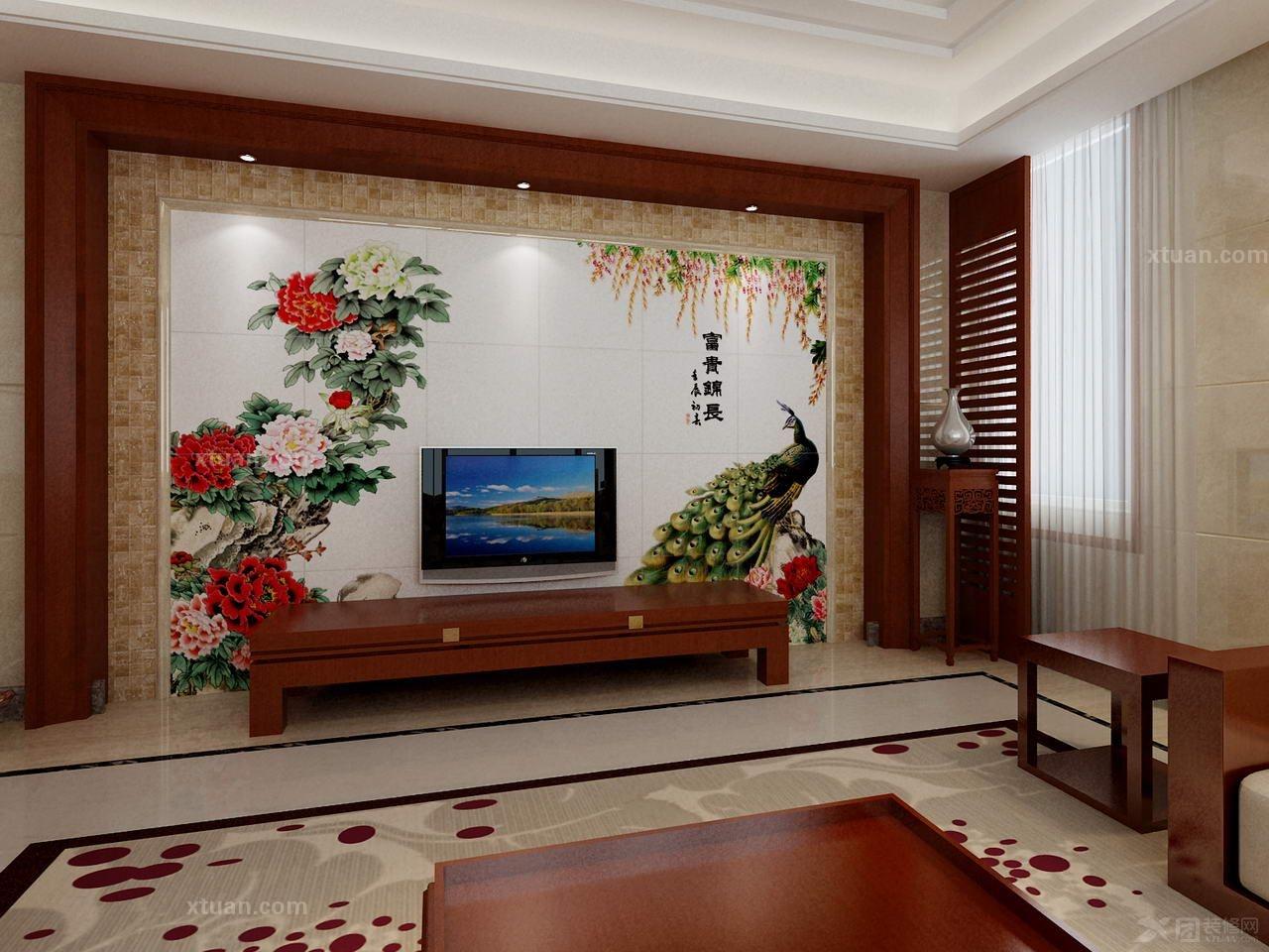 客厅装修-电视背景墙-优嗬艺术瓷砖背景墙-富贵锦长