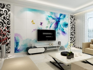 客厅装修-电视背景墙-优嗬艺术瓷砖背景墙-情迷米兰
