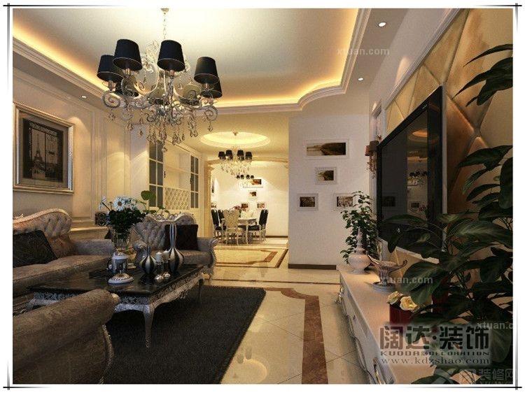 三居室欧式风格客厅_盘龙区滨江俊园125平方米欧式b